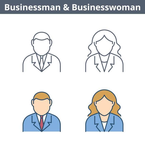 Occupations linear avatar set: businessman, businesswoman. Thin outline icons. vector art illustration