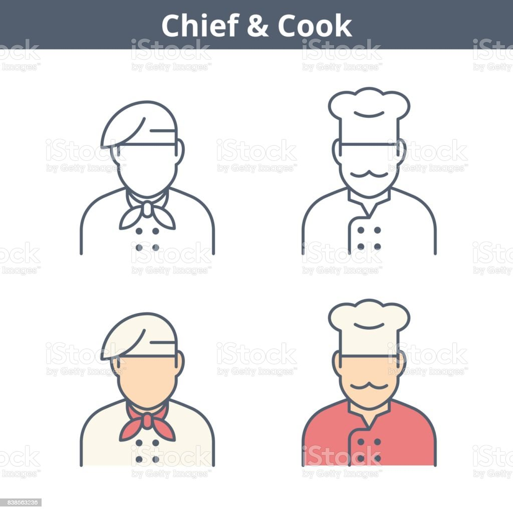 Occupations linear avatar set: cook, chief, baker. Thin outline icons. vector art illustration