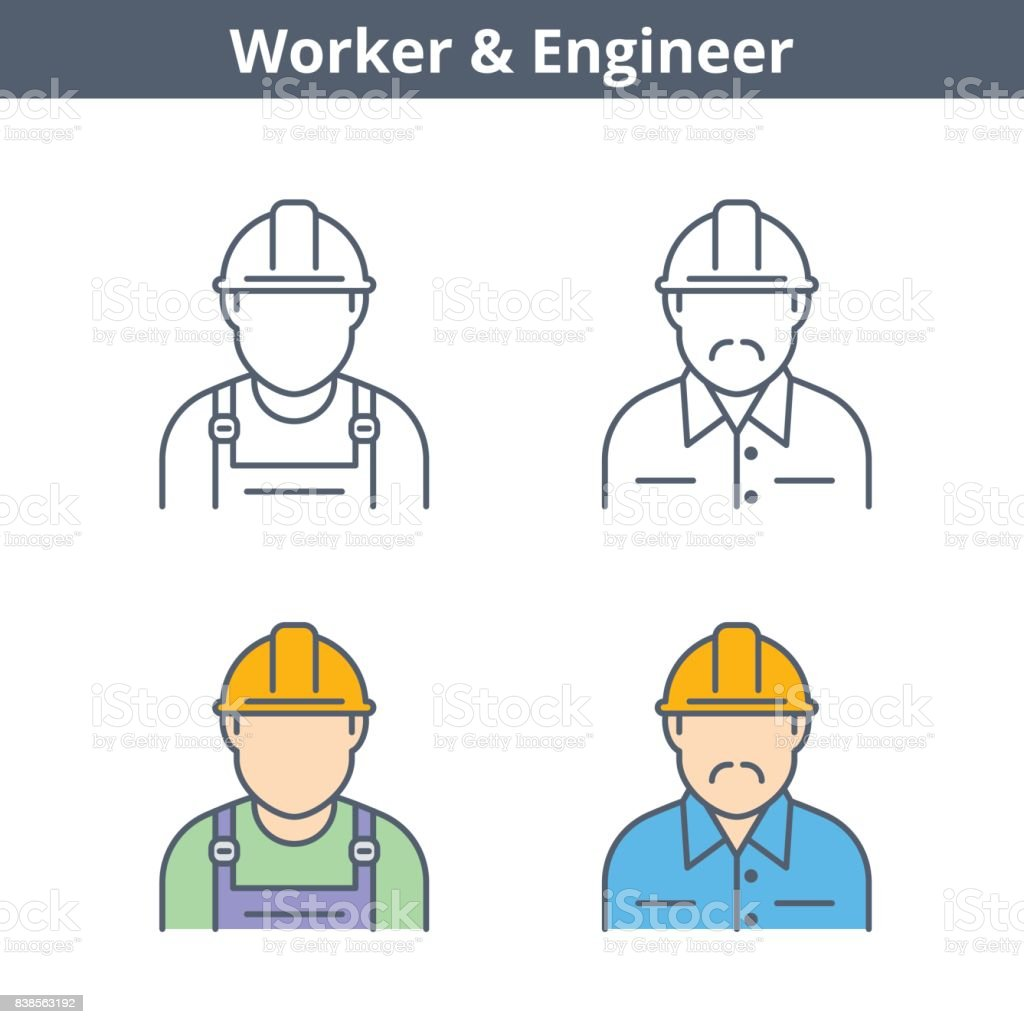Occupations linear avatar set: engineer, worker. Thin outline icons. vector art illustration