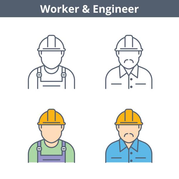 Occupations linear avatar set: engineer, worker. Thin outline icons. Occupations colorful avatar set: engineer, worker. Flat line professions userpic collection. Vector thin outline icons for user profiles, web design, social networks and infographics. uniform cap stock illustrations