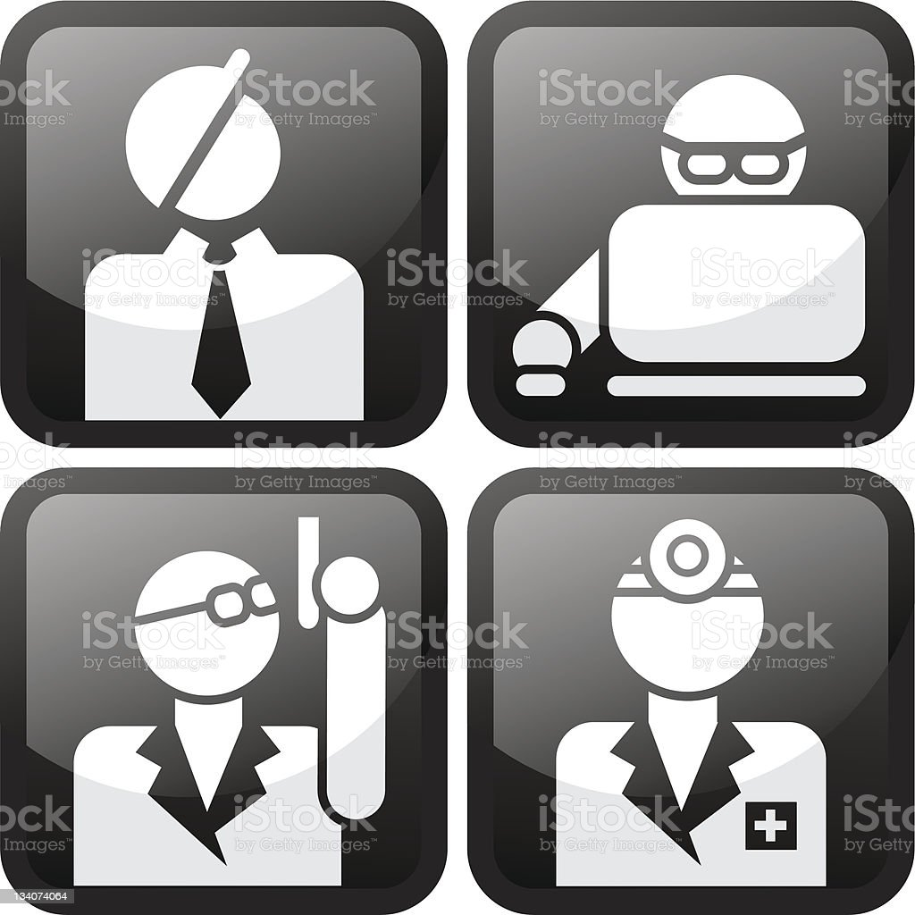 Occupations Pro Buttons Set royalty-free stock vector art