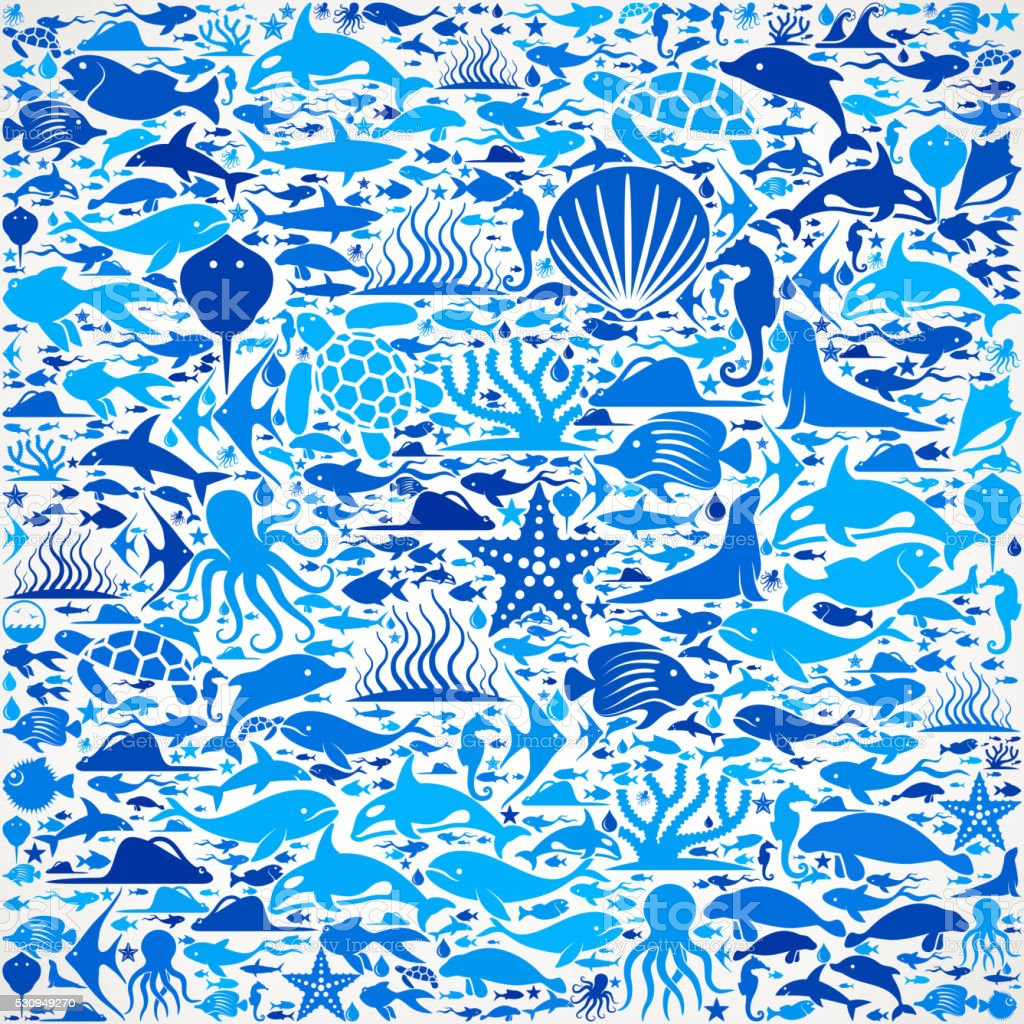 Ocean and Marine Life Blue Icon Pattern vector art illustration