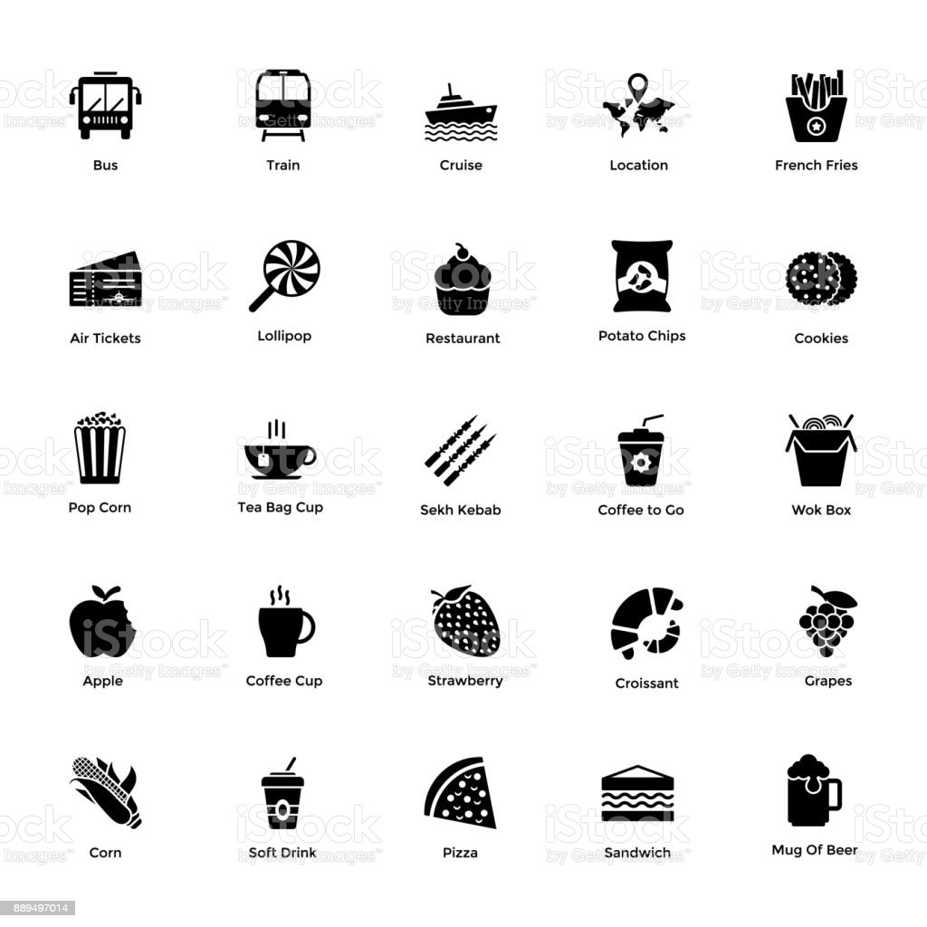 Ocean and Sea Life Glyph Icons 6 vector art illustration