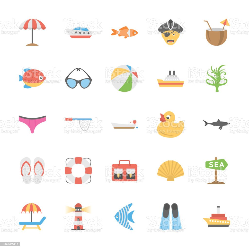Ocean and Sea Life Vector Icons Collection vector art illustration