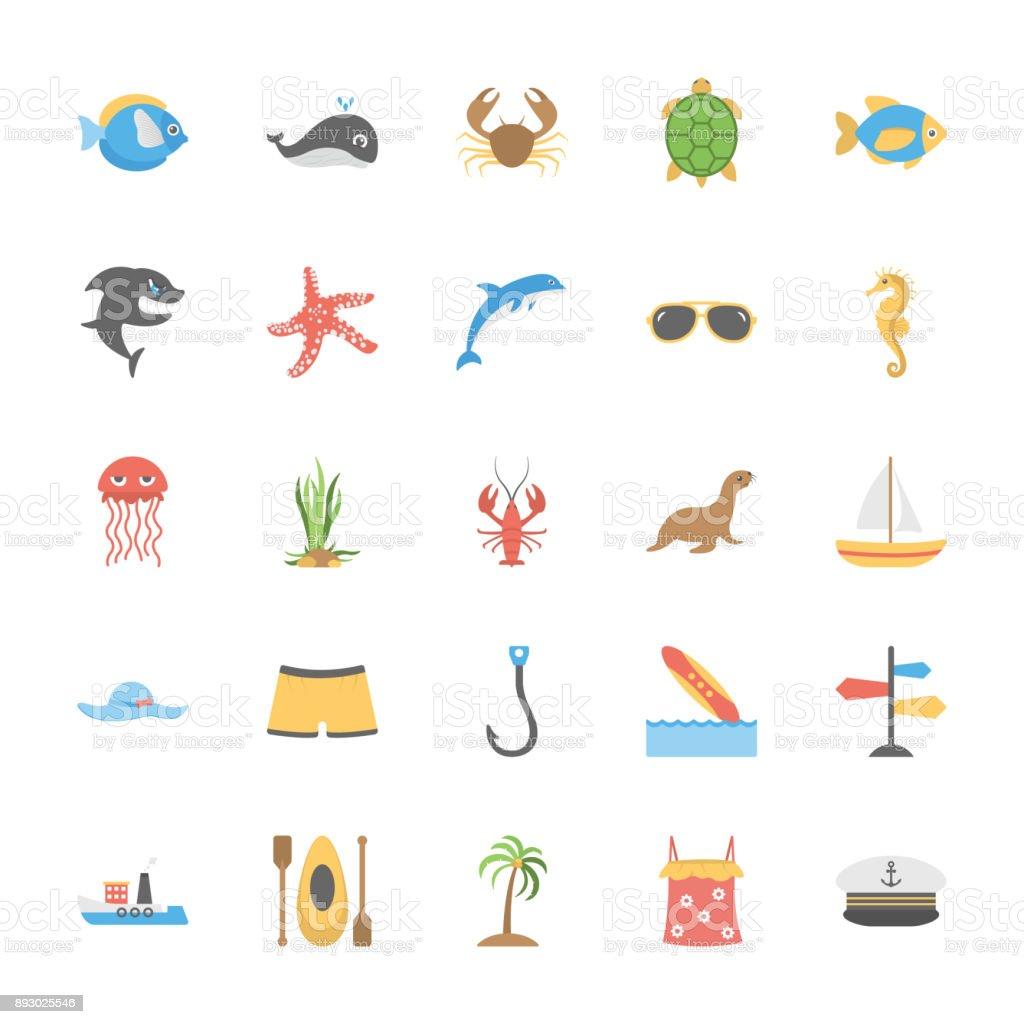Ocean and Sea Life Vector Icons Set vector art illustration