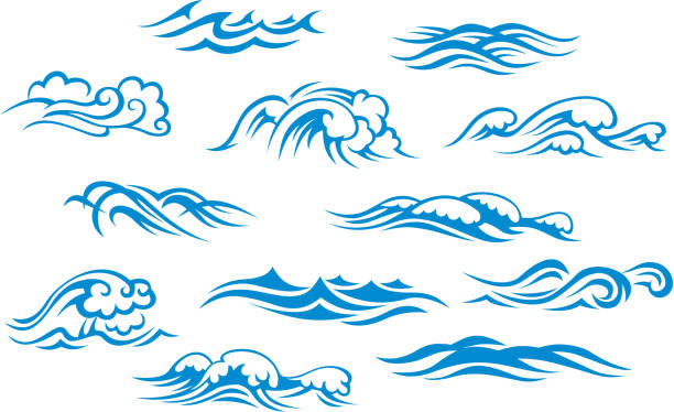 ocean and sea waves - tidal wave stock illustrations, clip art, cartoons, & icons