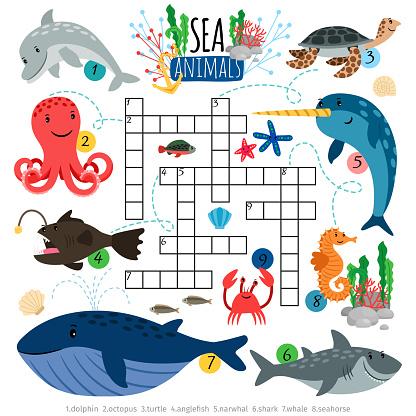 Ozean Tiere Kreuzworträtsel Spiel Für Kinder Stock Vektor Art und mehr Bilder von Akademisches Lernen