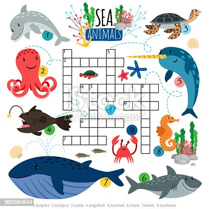 Ocean Animals Crosswords Game For Kids Stock Vector Art & More Images of Animal 965384644