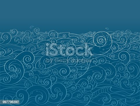 Cute ocean waves background in the night.