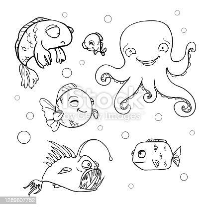 istock Ocean bottom. Coloring book page in doodle stile. Marine inhabitants, hand draw sketch. 1289607752