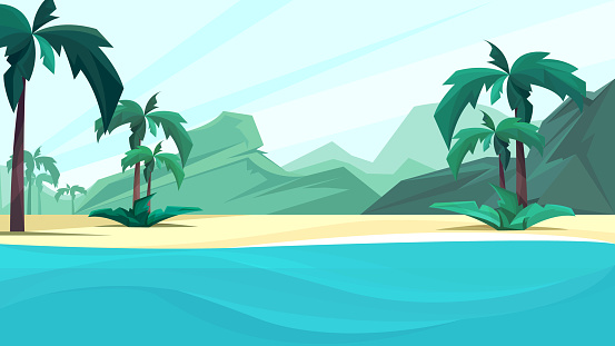 Ocean coast with palms and mountain.