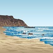 Ocean coast with rock and sand beach