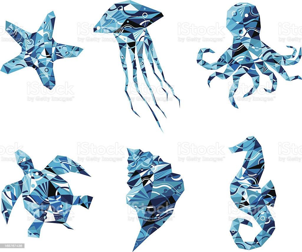 ocean creatures. vector art illustration