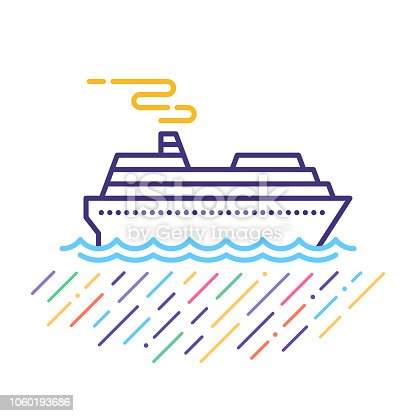 Line vector icon illustration of sea cruise holidays and tours.