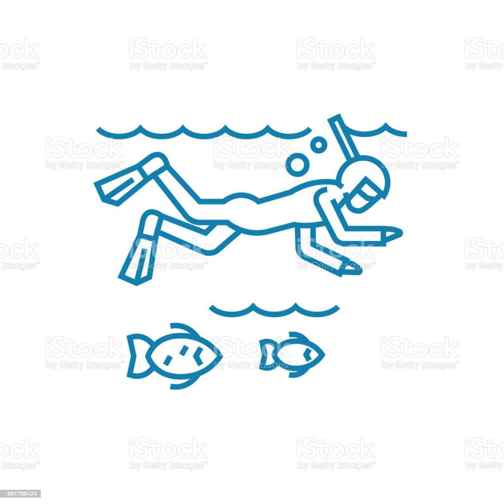 Ocean diving linear icon concept. Ocean diving line vector sign, symbol, illustration. vector art illustration
