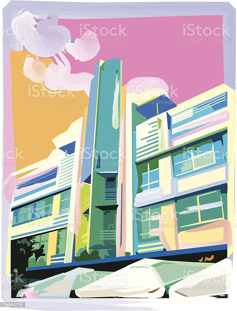 Ocean Drive Hotel vector art illustration