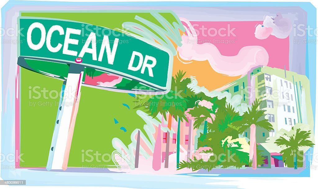 Ocean Drive vector art illustration