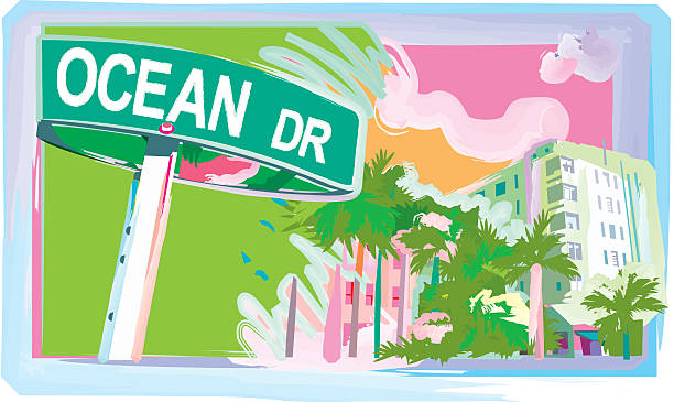 Ocean Drive Watercolor style pastel vector of the famous Miami Beach Street... Ocean Drive. 300 dpi jpg included. miami stock illustrations