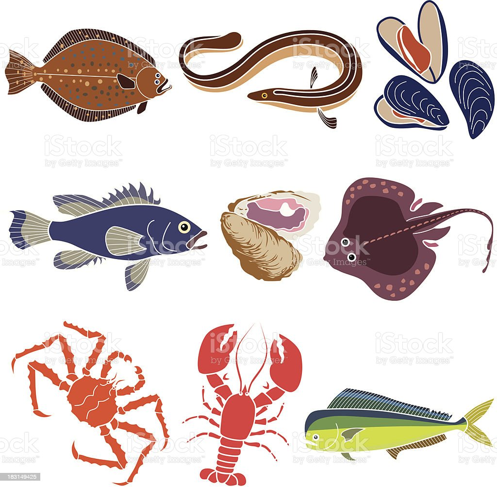 ocean fishes and sea creatures Vector ocean fishes and sea creatures that are popular seafood. Alaskan King Crab stock vector