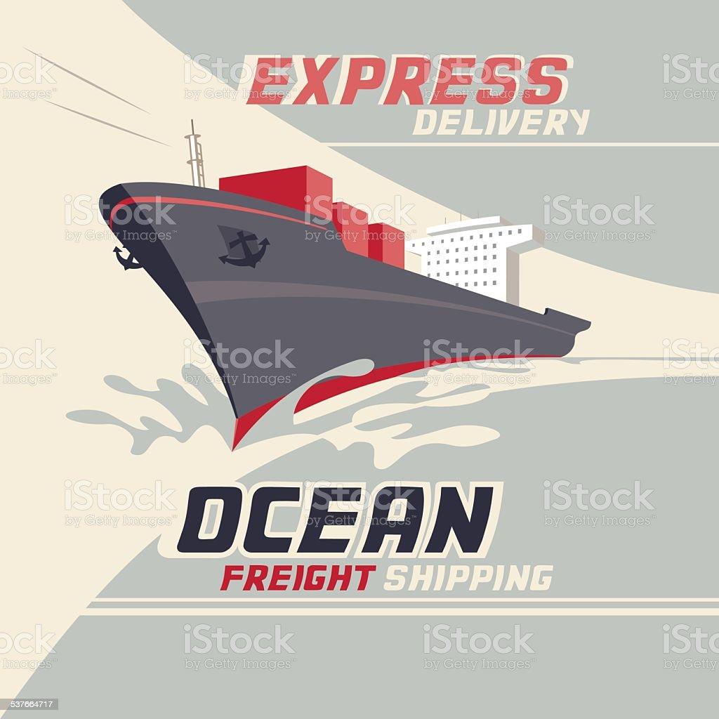 Ocean freight shipping vector art illustration