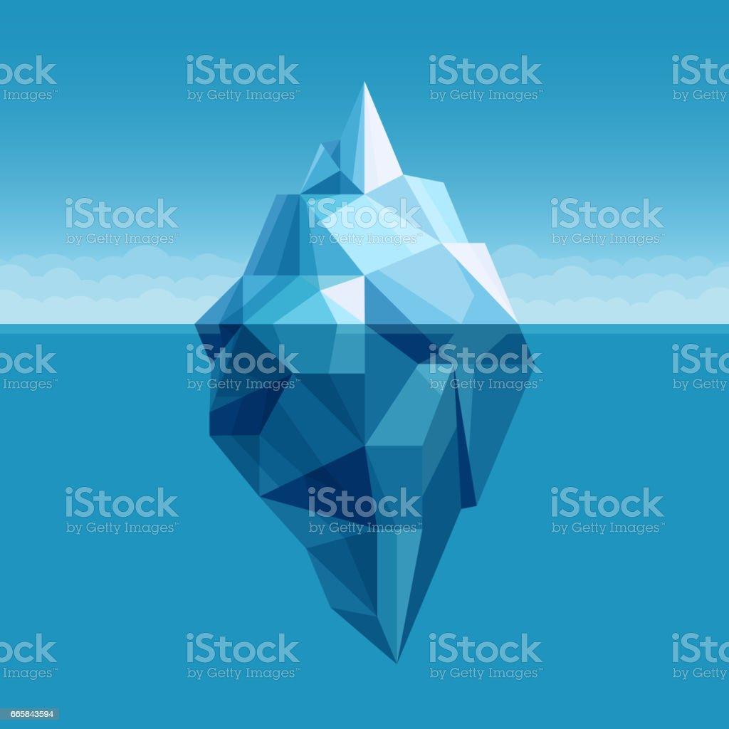Ocean iceberg antarctic landscape vector background