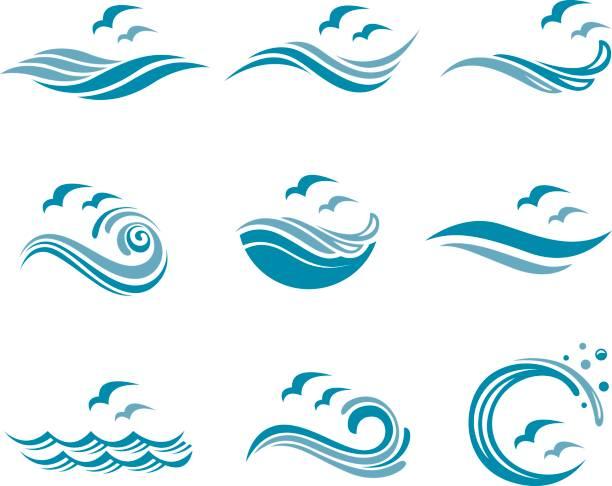 zestaw ikon oceanu - fala woda stock illustrations
