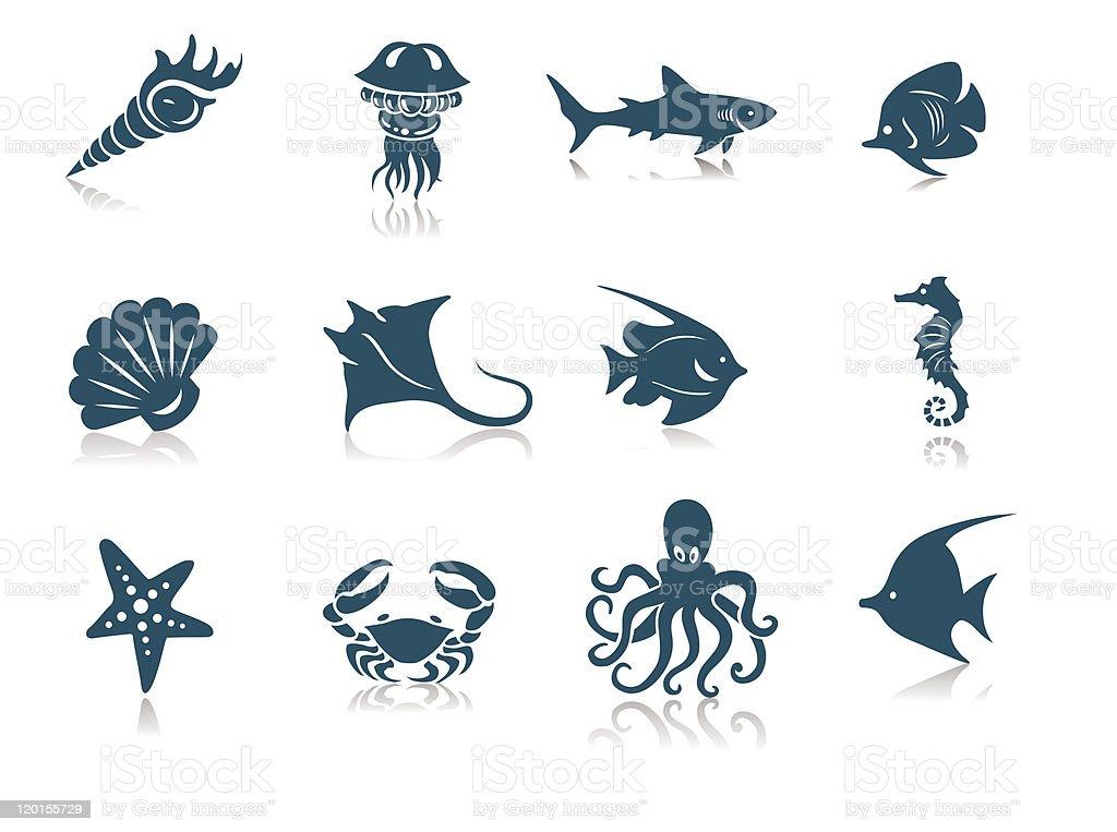 Ocean Life icons vector art illustration