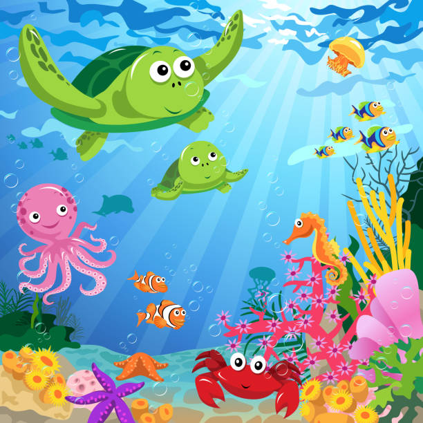 Ocean Life Under the Sea vector art illustration