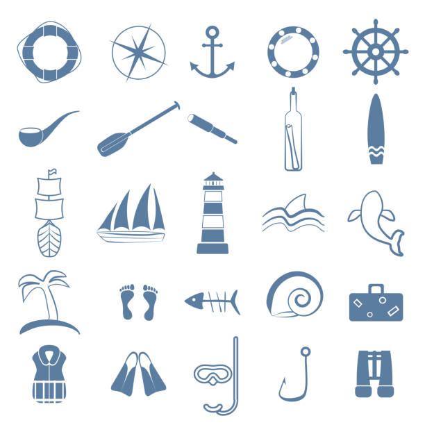 ozean linie kunst-symbole gesetzt - haifischköder stock-grafiken, -clipart, -cartoons und -symbole