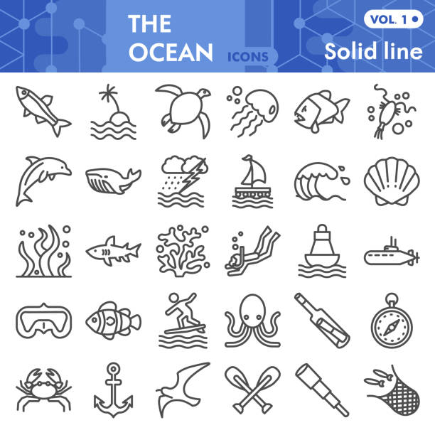 Ocean line icon set, nautical symbols collection or sketches. Marine life signs for web, linear style pictogram package isolated on white background. Vector graphics. Ocean line icon set, nautical symbols collection or sketches. Marine life signs for web, linear style pictogram package isolated on white background. Vector graphics dolphin stock illustrations