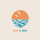 abstract design of ocean logo with sun, waves and seagulls