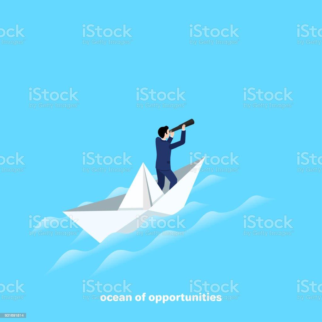 ocean of opportunities vector art illustration