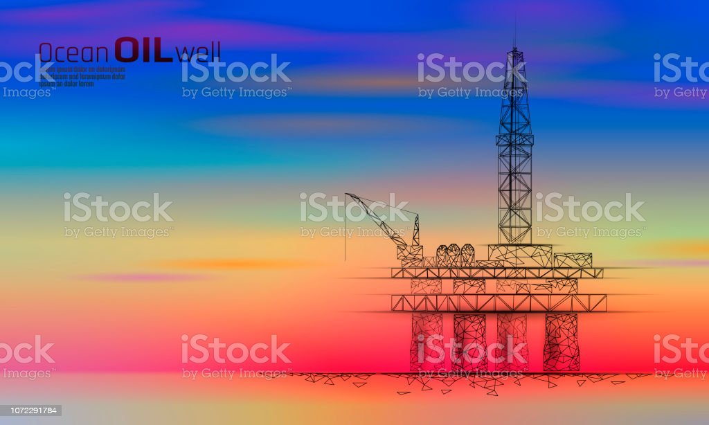 Ocean oil gas drilling rig low poly business concept. Finance economy...
