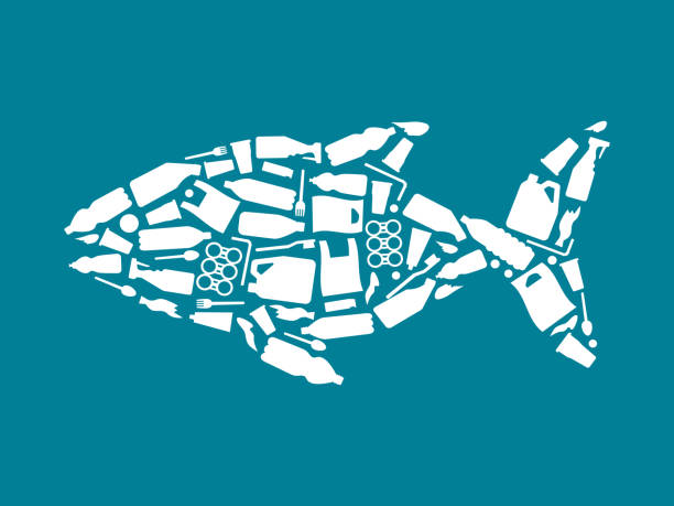 Ocean plastic pollution. Ecological poster Fish composed of white plastic waste bag, bottle on blue background. Plastic problem Ocean plastic pollution. Ecological poster Fish composed of white plastic waste bag, bottle on blue background. Plastic problem. disposable stock illustrations