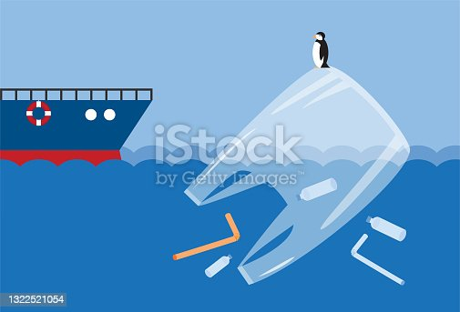 istock Ocean plastic pollution with plastic waste bag bottle 1322521054