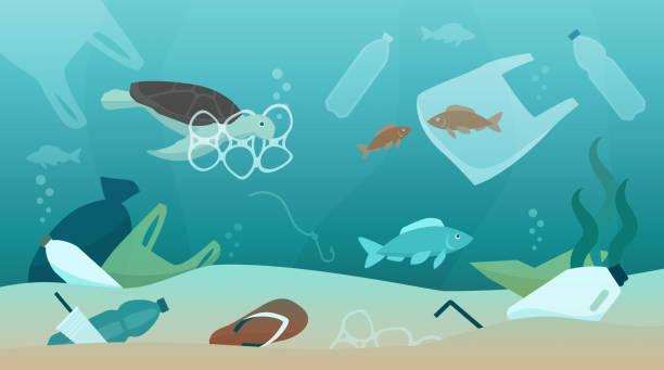 해양 오염과 생태계에 미치는 영향 - 플라스틱 stock illustrations