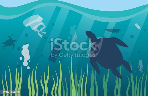istock ocean pollution with plastic waste, environmental disaster 1207604280