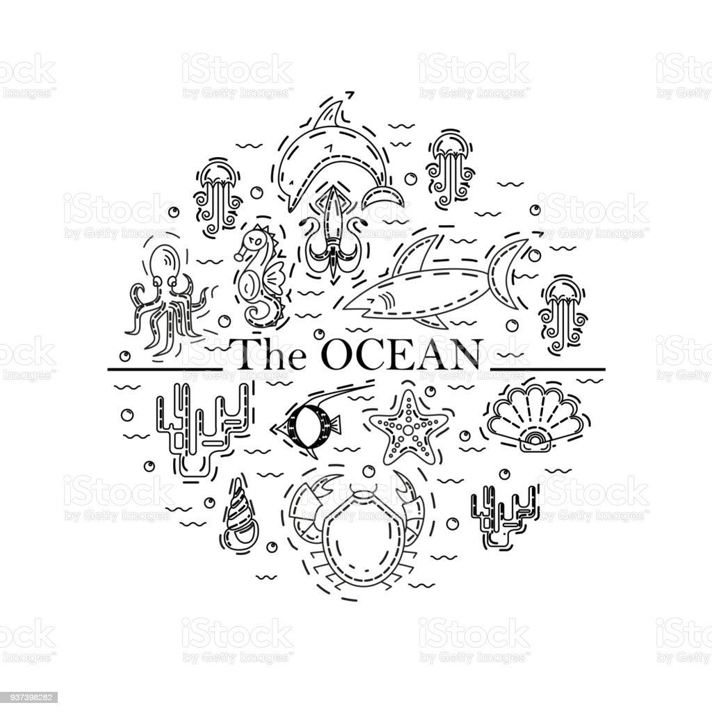Ocean round design vector art illustration
