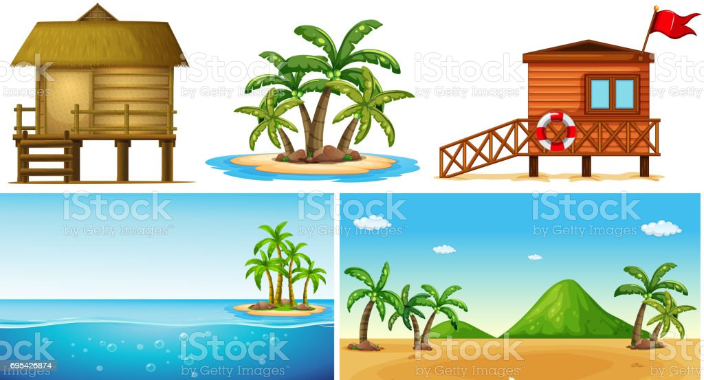 Ocean scenes with island and lifeguard house vector art illustration