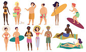 Ocean sea beach summer activities cute people vector illustration set