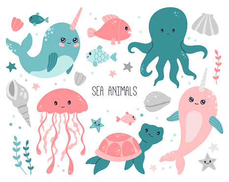 Ocean, sea cute baby animals collection on white background