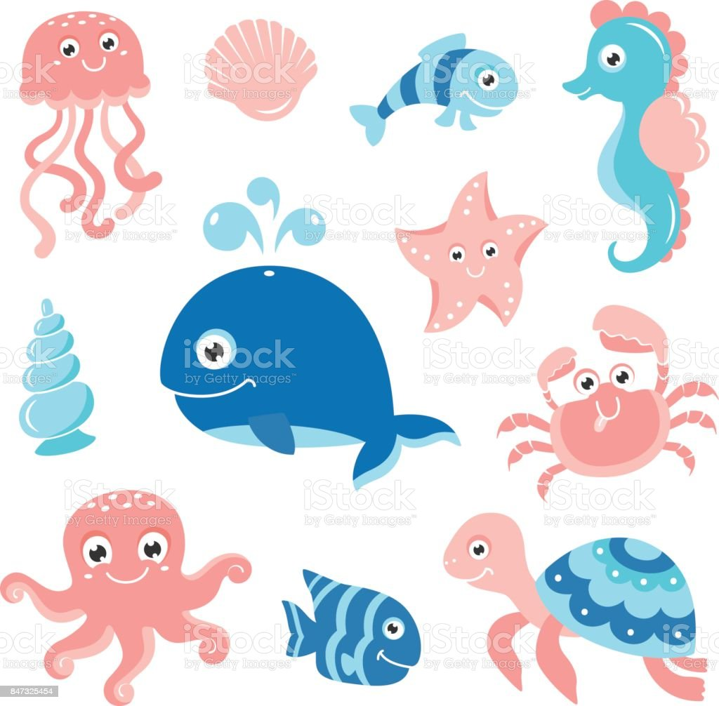 Ocean Set With Cartoon Sea Animals For Baby Shower Scrapbooking And