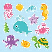 Ocean set with cute sea animals octopus turtle whale seahorse