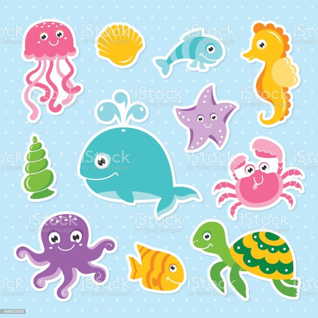 Ocean set with cute sea animals octopus turtle whale seahorse vector art illustration