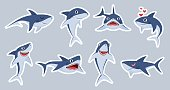 Ocean shark mascot. Happy sharks, scary jaws and underwater swimming cute character, emotions fish for stickers, print patches vector set