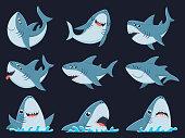 Ocean shark mascot. Scary sharks animals, smiling jaws and swimming shark. Underwater marine monster, big sea shark creatures character. Cartoon vector illustration isolated icons set