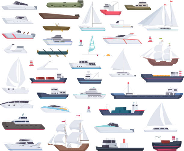 Ocean ships. Yacht sailing boats and travel big and little vessel vector cartoon collection Ocean ships. Yacht sailing boats and travel big and little vessel vector cartoon collection. Illustration of speedboat and powerboat, tugboat and sailboat sailboat stock illustrations