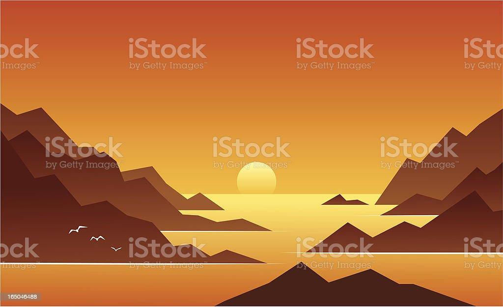 Ocean Sunset vector art illustration