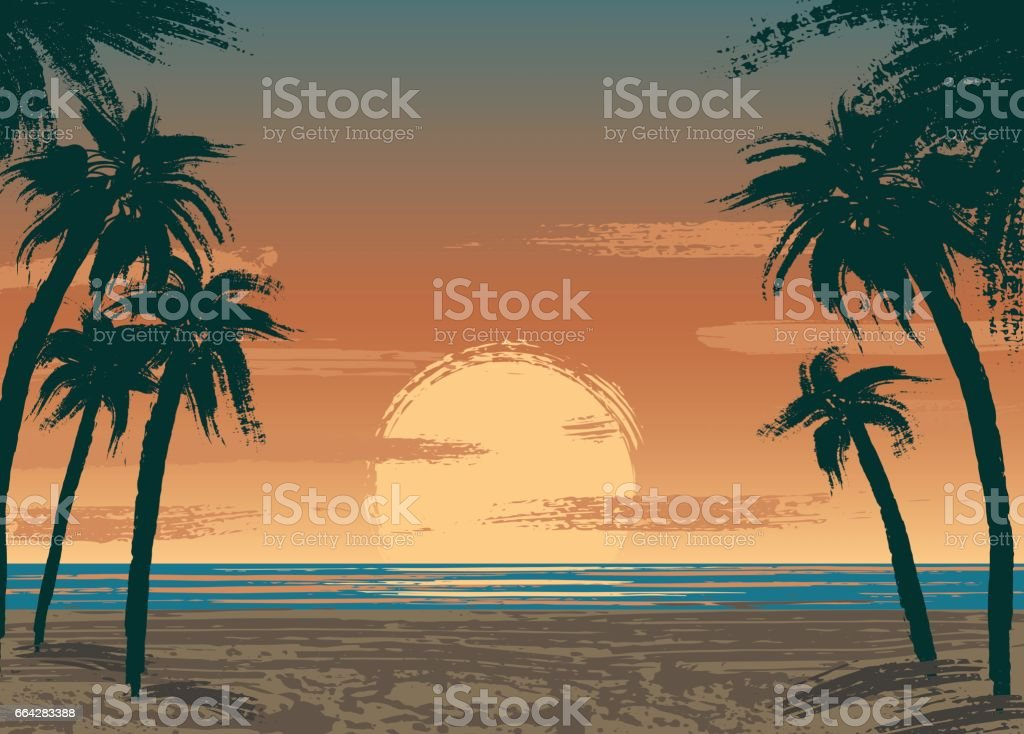 Ocean sunset vector art illustration