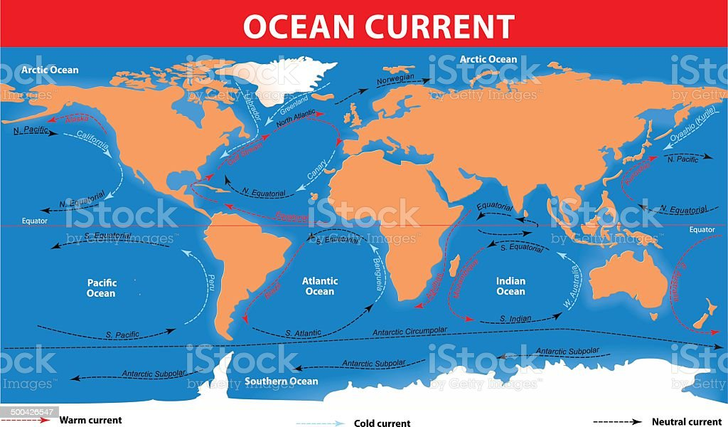 Ocean surface currents vector art illustration